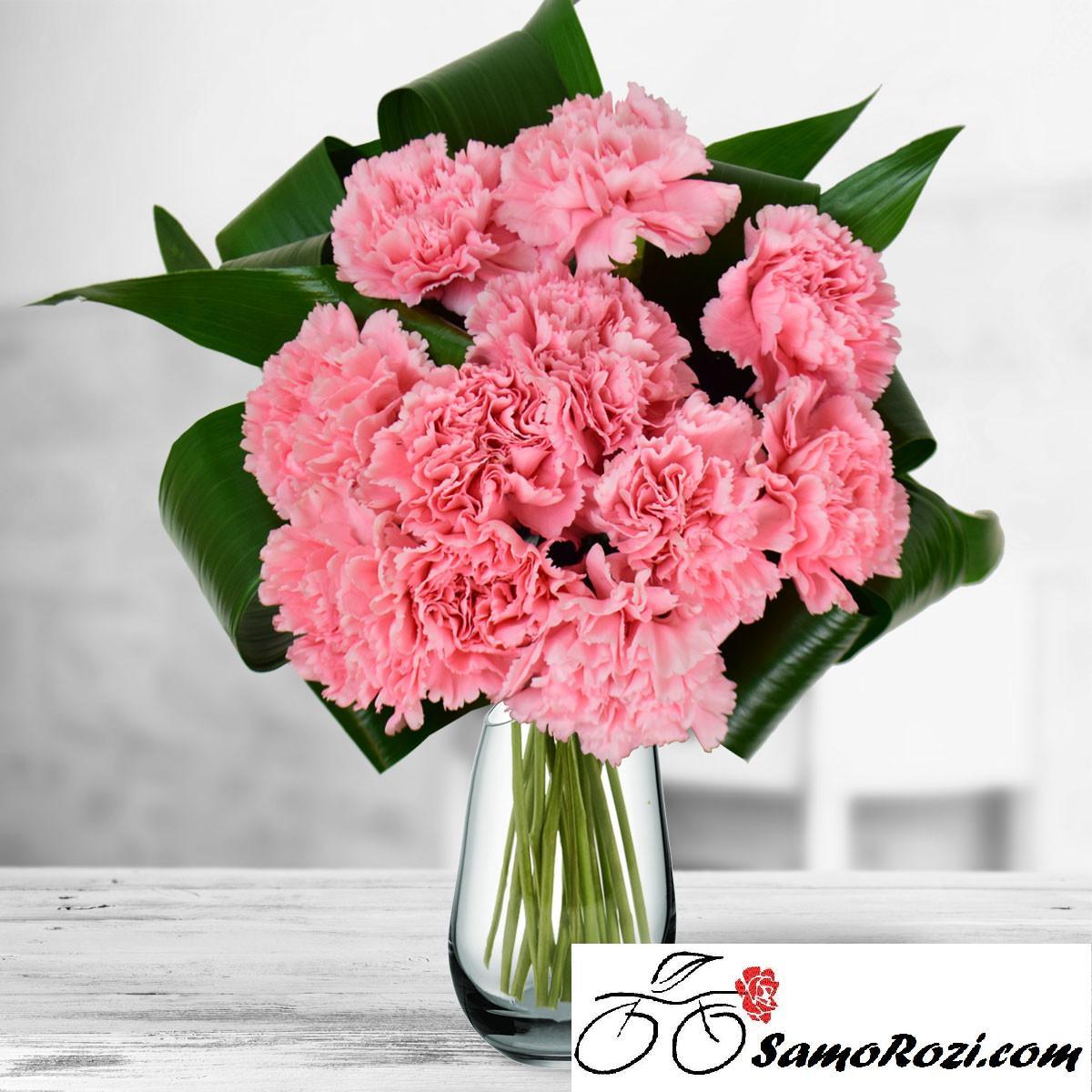 Букет 11 розови карамфила и зеленина