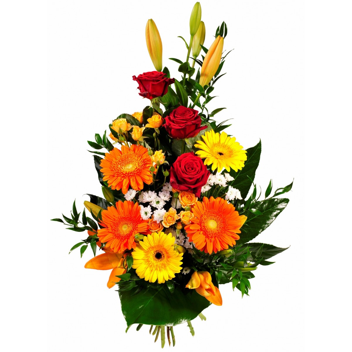Букет микс от гербери, рози, лилиум, хризантема и зеленина