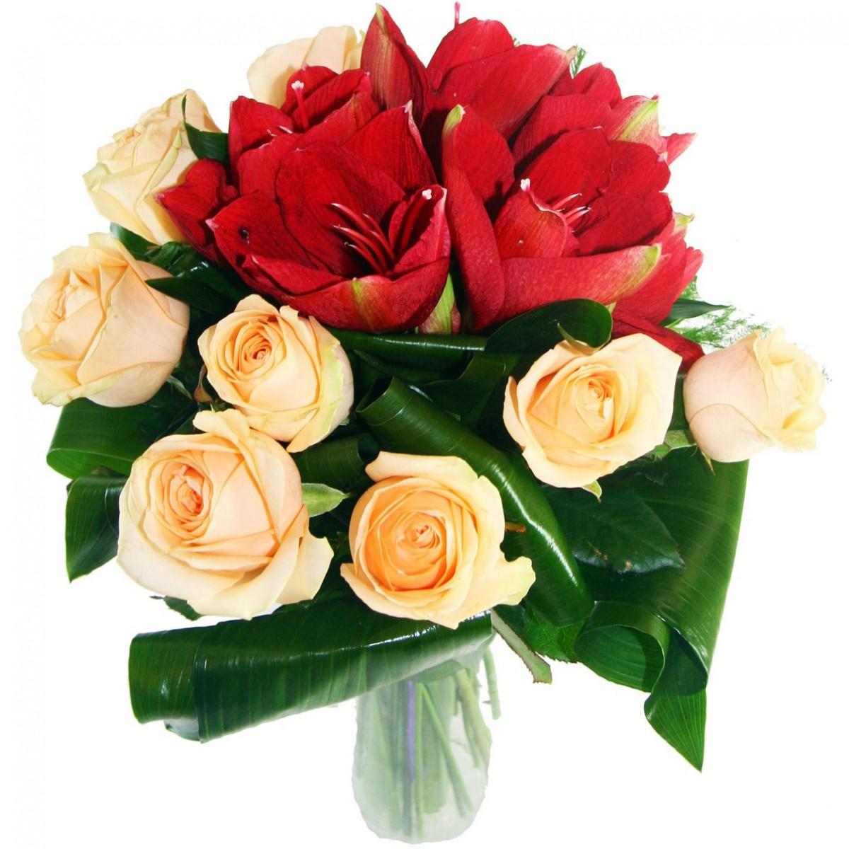 Букет от амарилис и рози слонова кост