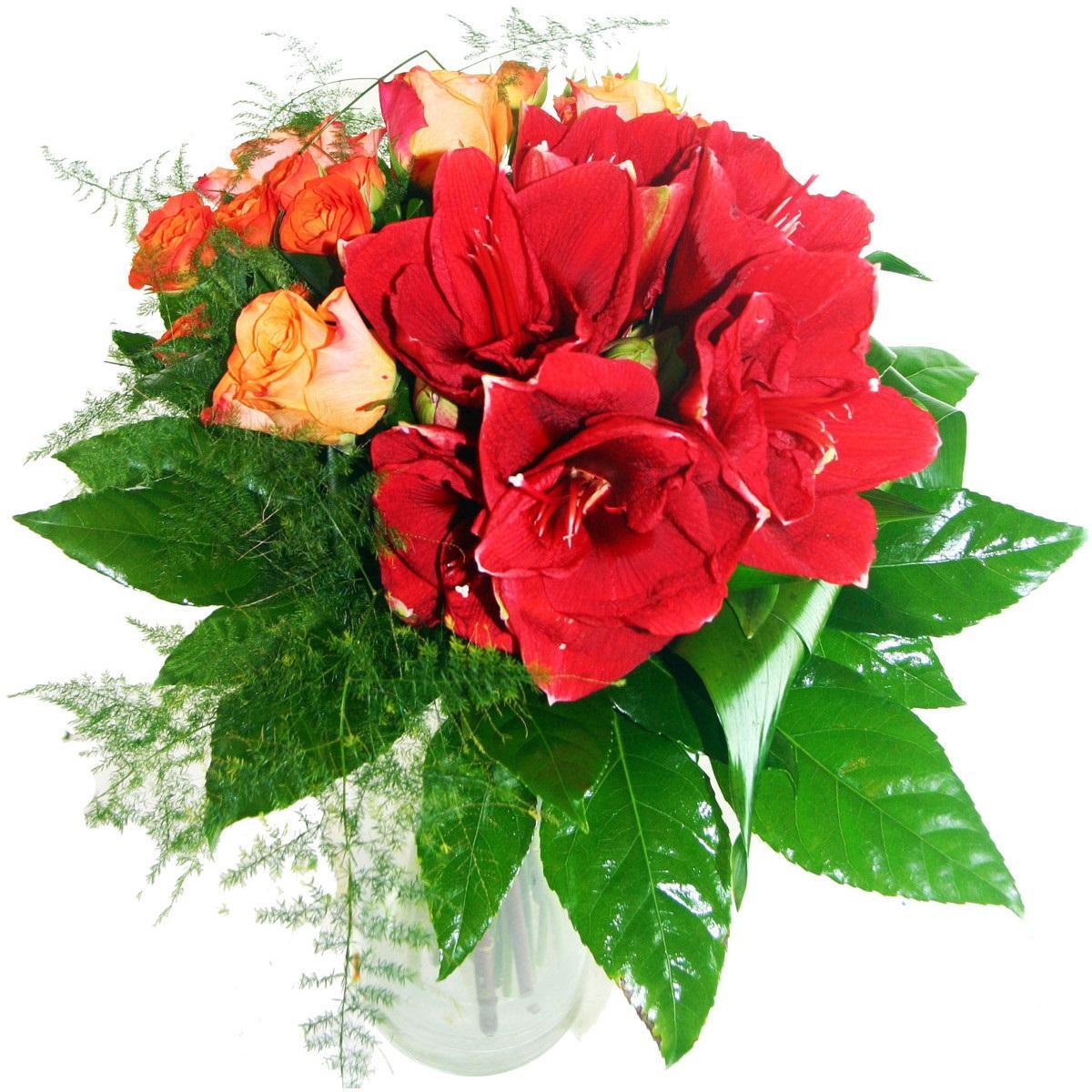 """Букет от амарилис и рози """" Изгарящо червено """""""