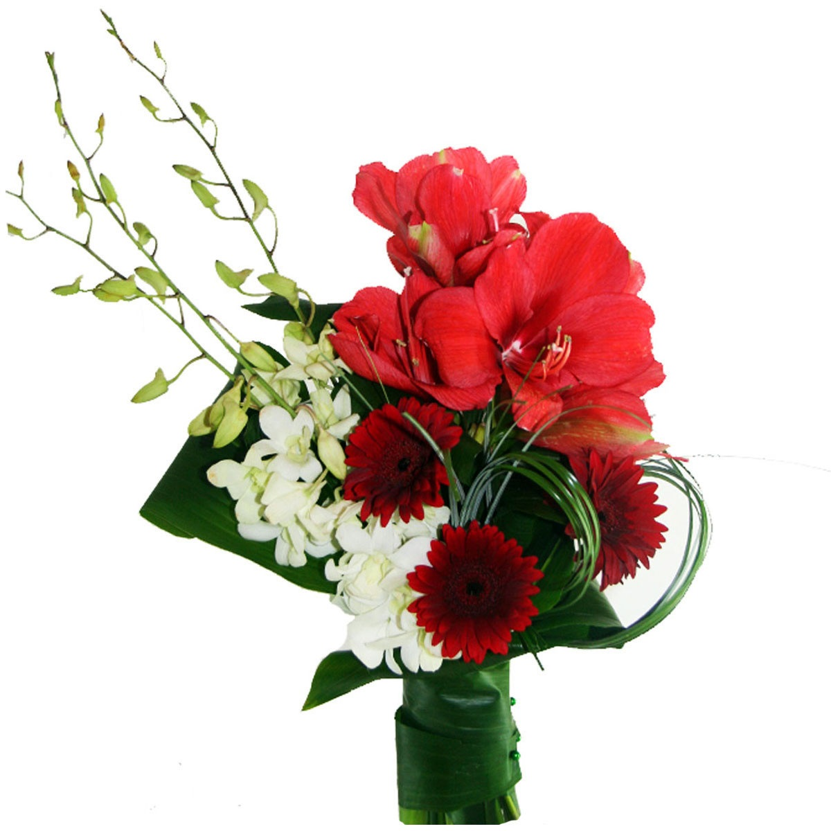 Букет от червен амарилис , бели орхидеи и червени гербери