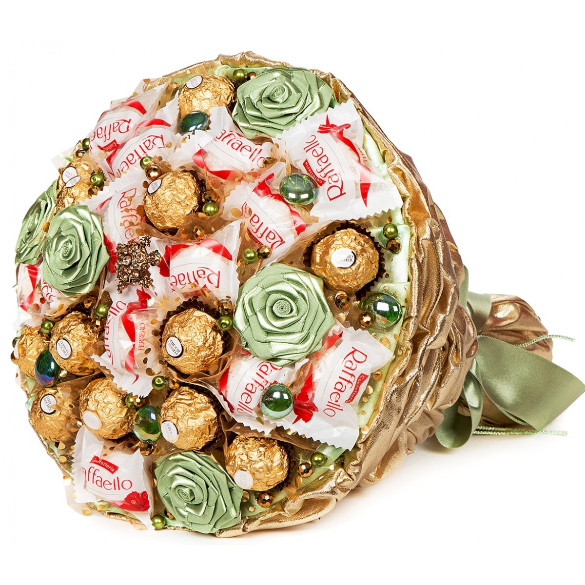 "Букет "" Златната костенурка"" (30x35 см) от шоколадови бонбони"