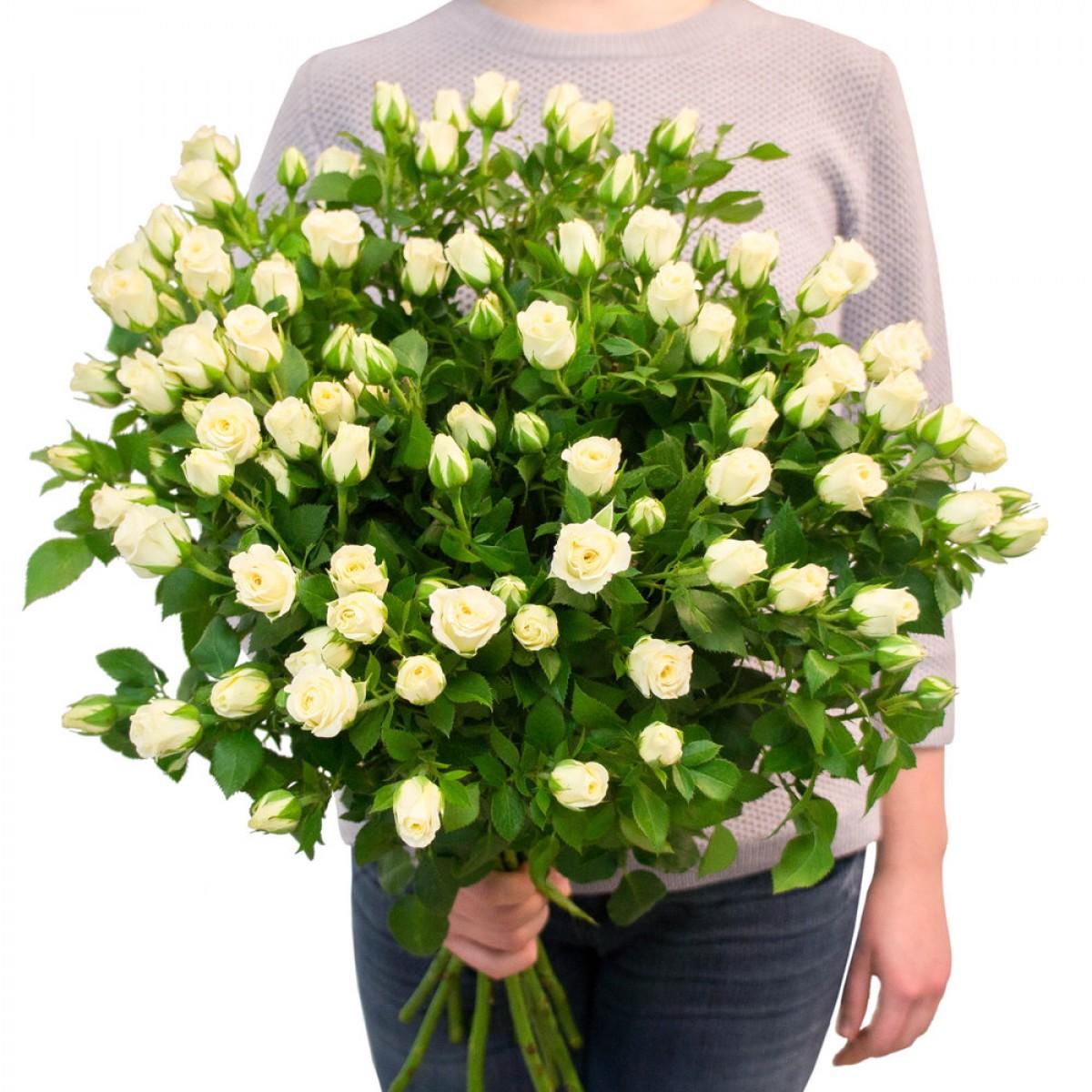 Букет от 11 до 15 бели спрей рози 80 см. (ти избираш броя)