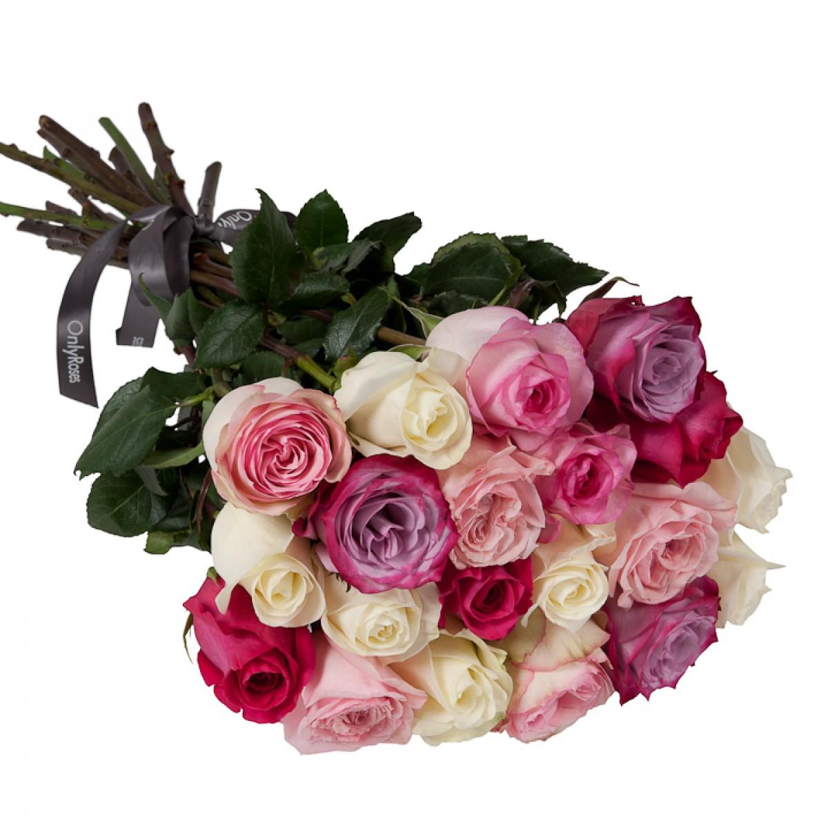 Букет от 11 до 15 рози в бяло/розова гама (ти избираш броя)