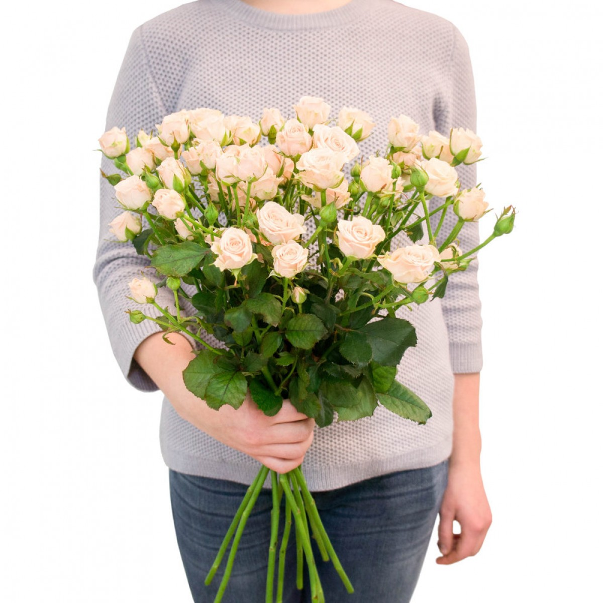 Букет от 11 до 15 кремави спрей рози (ти избираш броя)