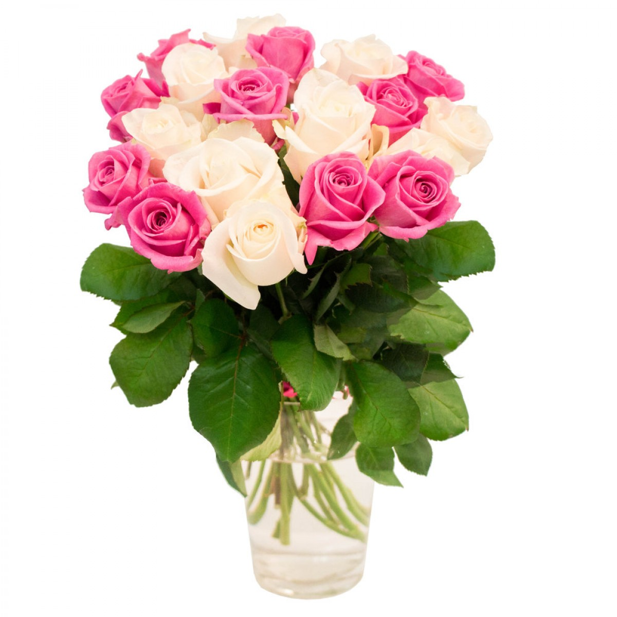 Букет от 15 до 25 рози в бяло и розово (ти избираш броя)
