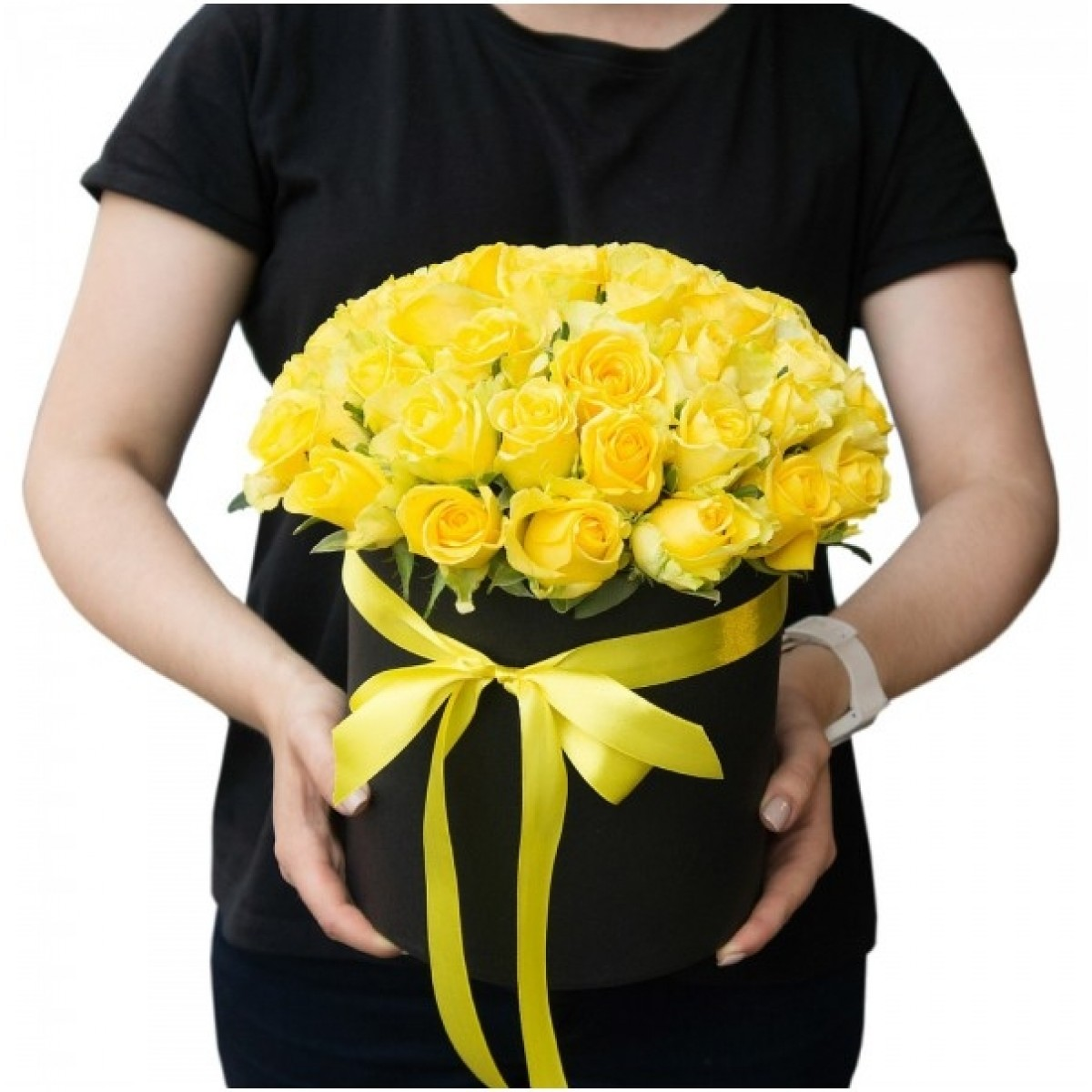 29 Жълти рози в кутия