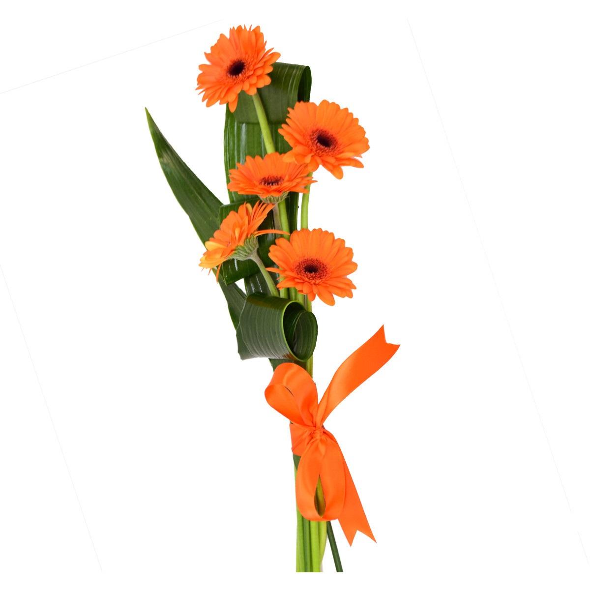 Букет 5 оранжеви герберa