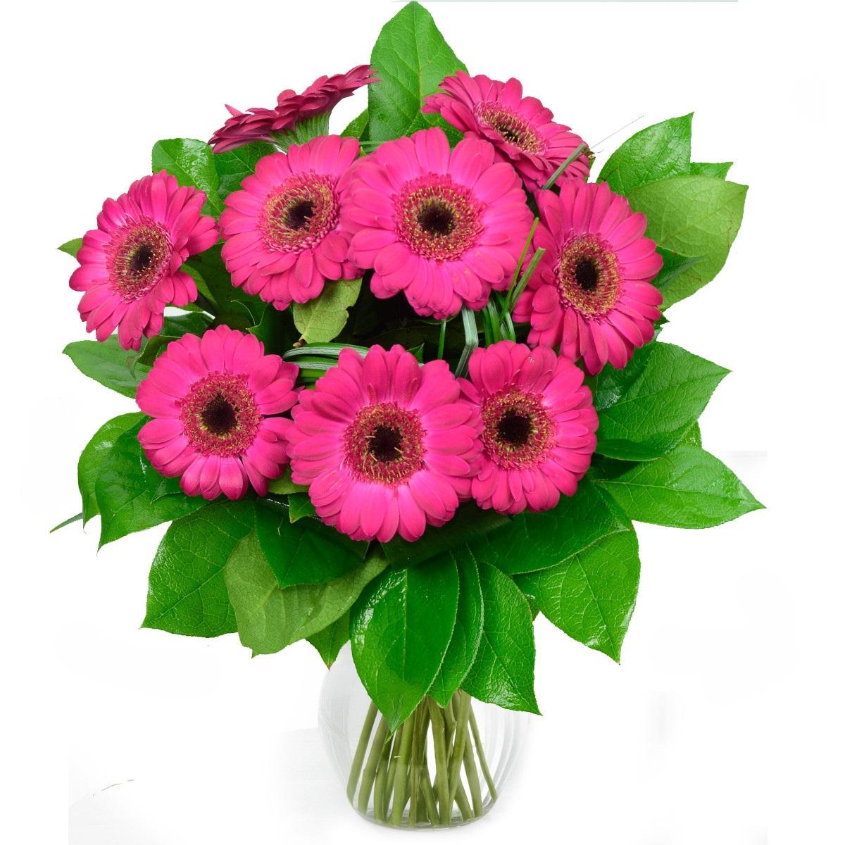 Букет 9 розови герберa