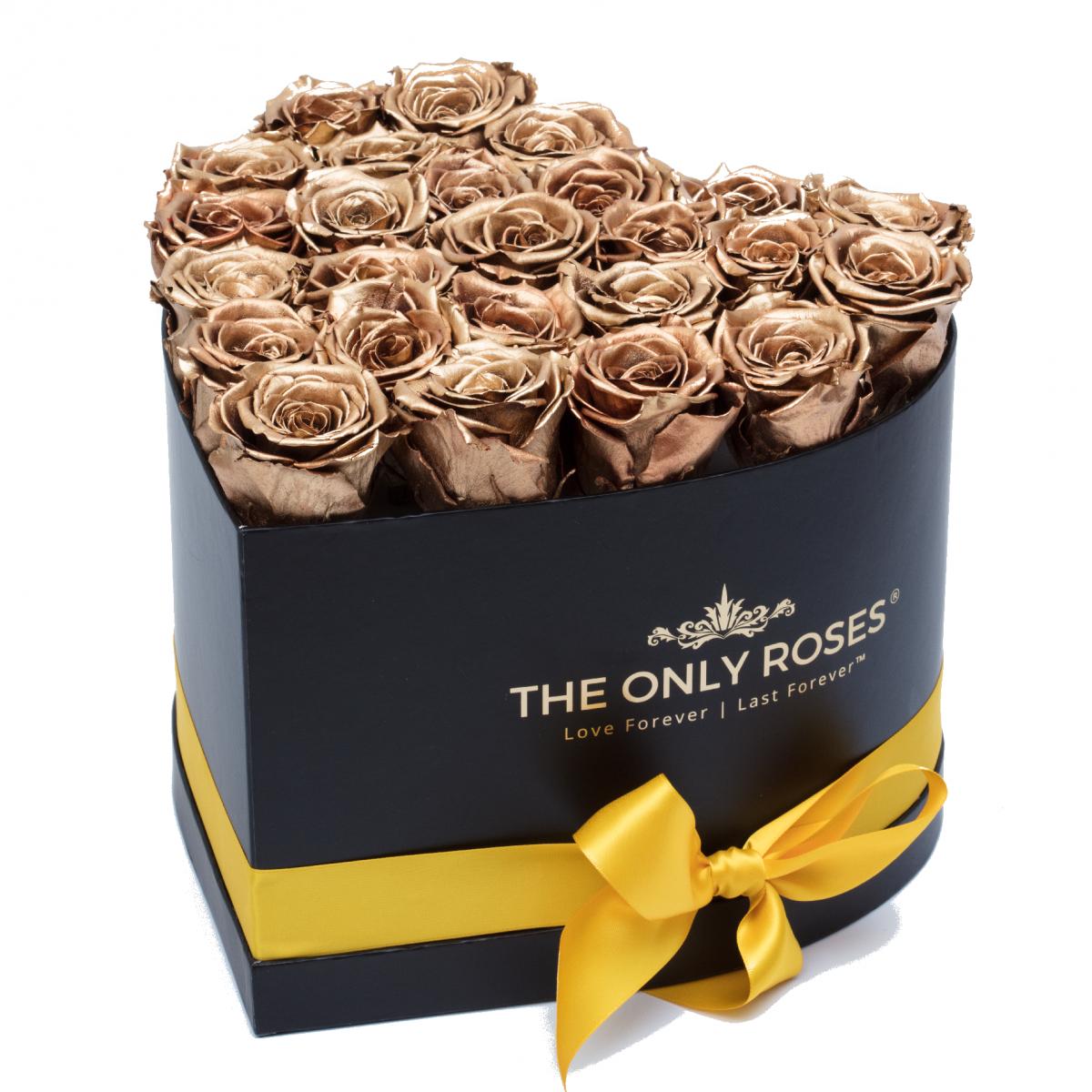 Композиция 101 златни Полиуретанови Рози в кутия с форма на сърце