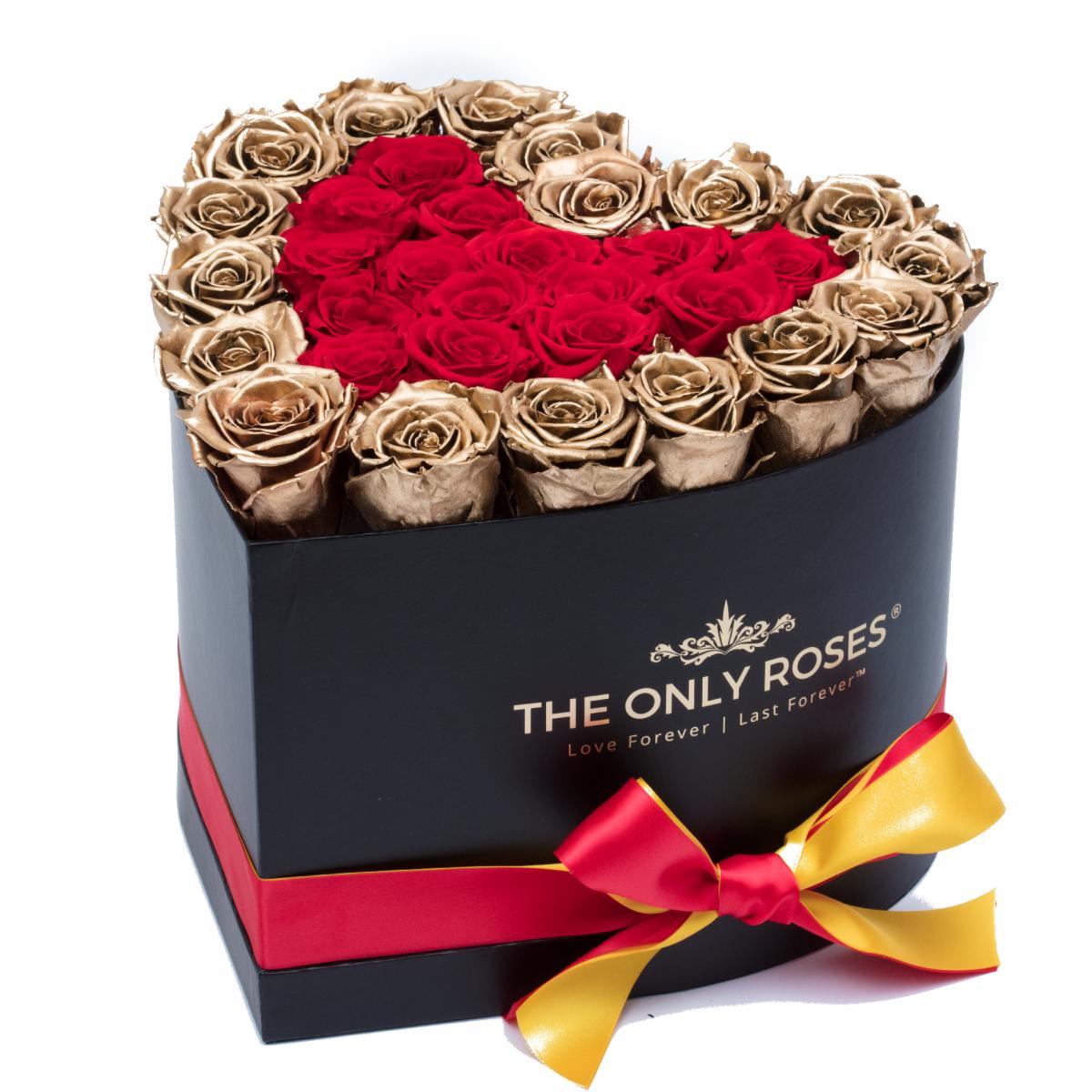 Композиция 101 златни и червени Полиуретанови Рози в кутия с форма на сърце