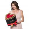ТОП ОФЕРТА - Композиция 201 златни и червени Полиуретанови Рози в кутия с форма на сърце