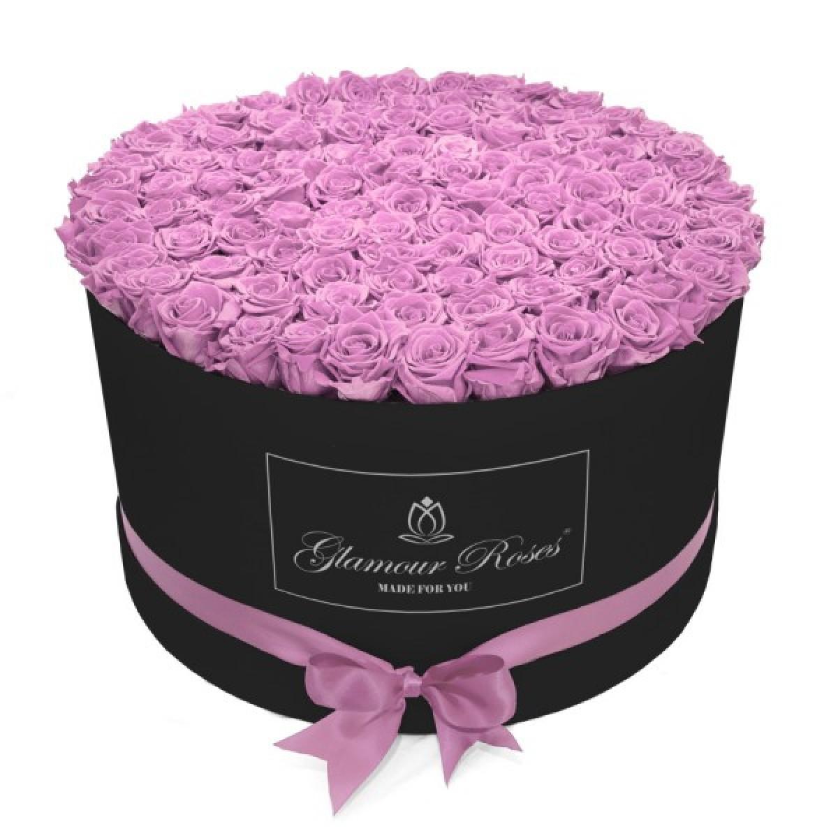 101 розови Полиуретанови Рози в кръгла черна кутия