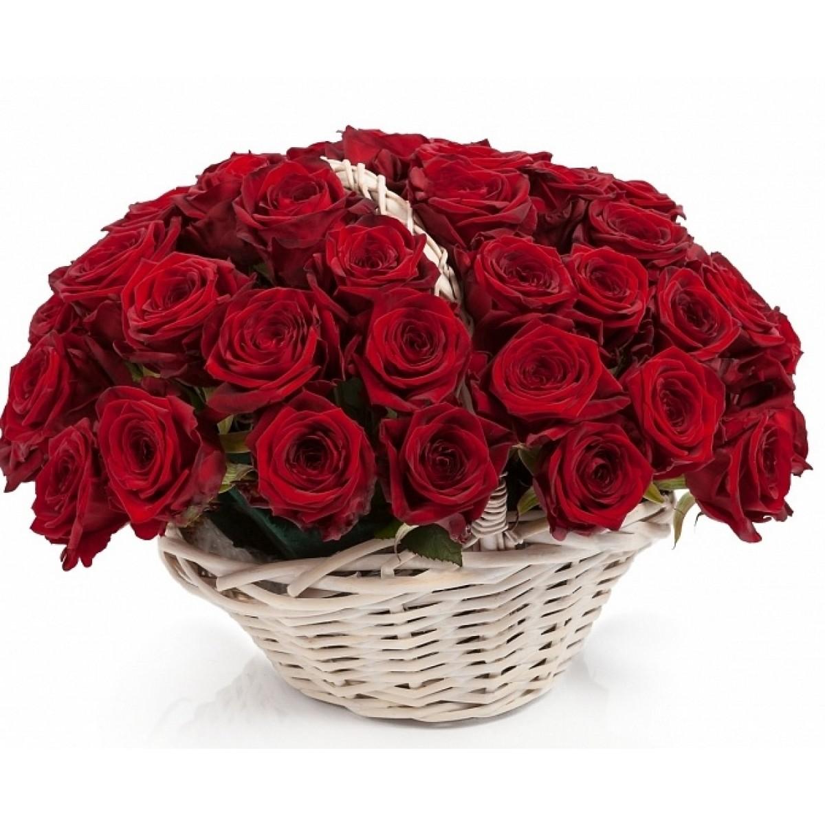 Кошница от 51 червени рози