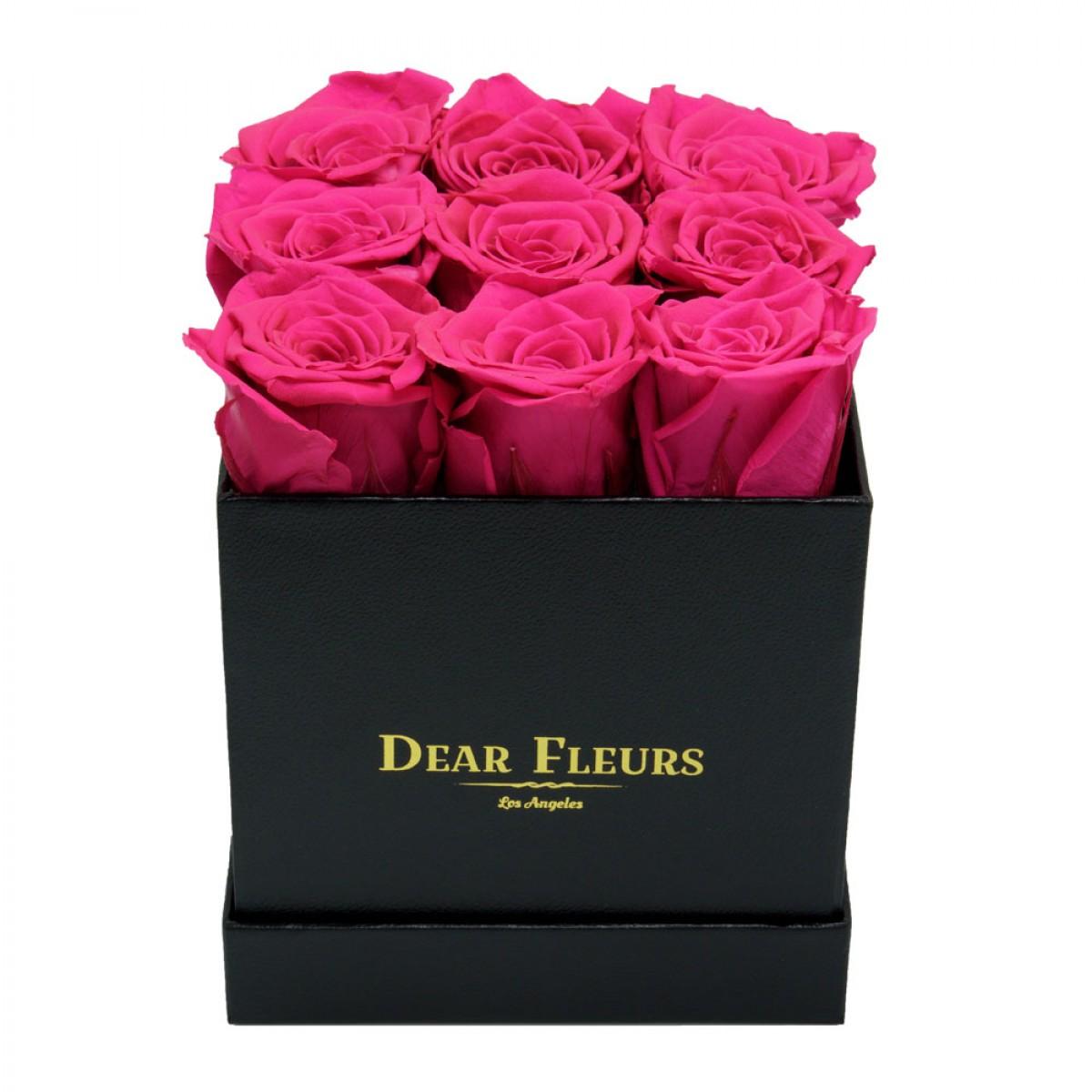 9 розови рози в стилна черна кутия