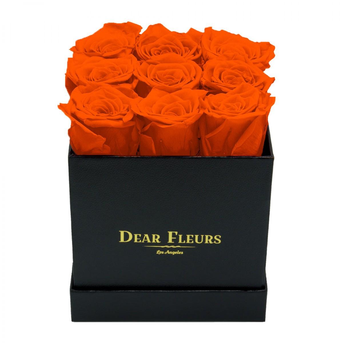 9 оранжеви рози в стилна черна кутия