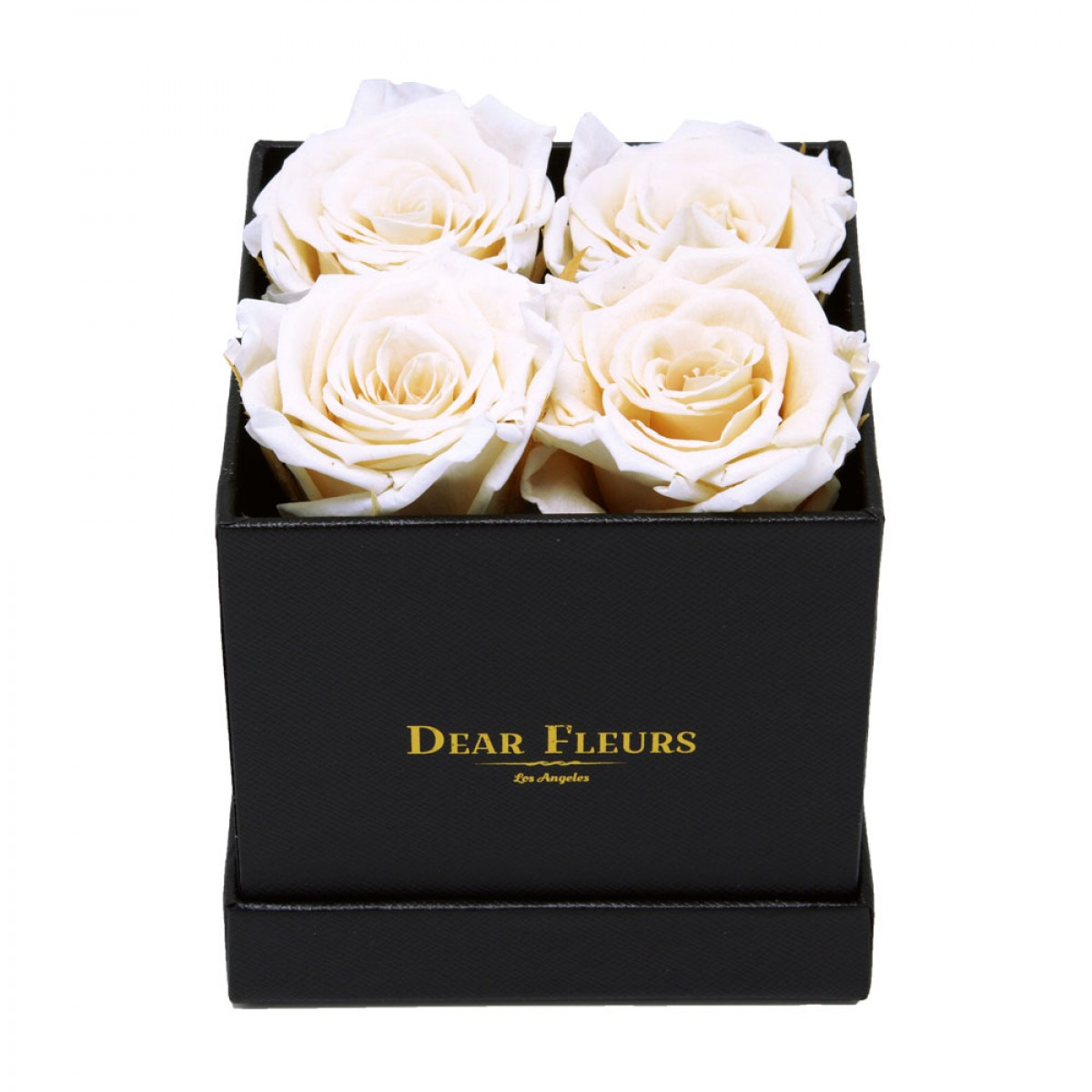 4 или 5 бели рози в стилна черна кутия