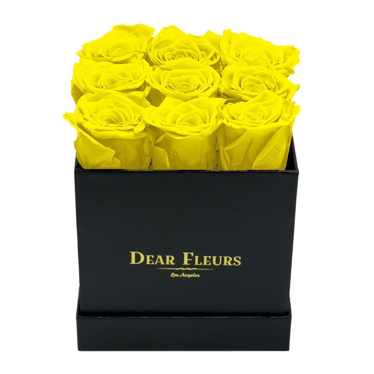 9 жълти рози в стилна черна кутия