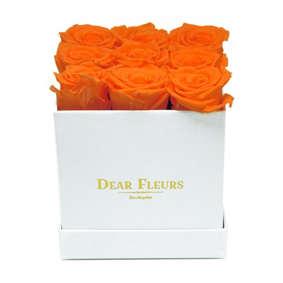 9 оранжеви рози в стилна бяла кутия