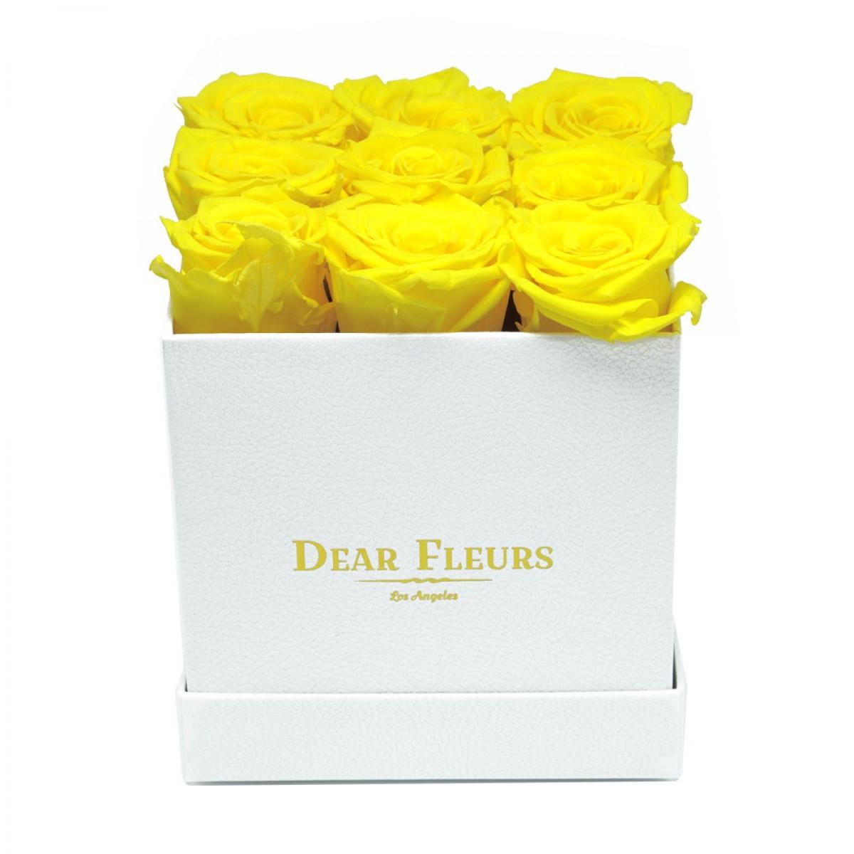 9 жълти рози в стилна бяла кутия