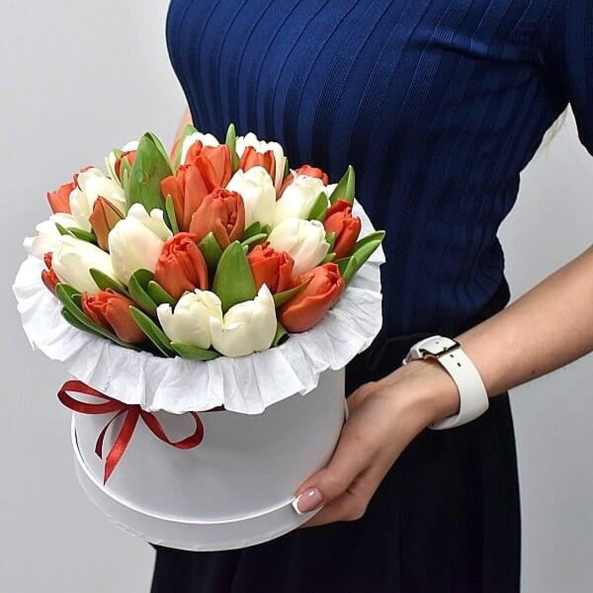 35 червени и бели лалета в луксозна кутия