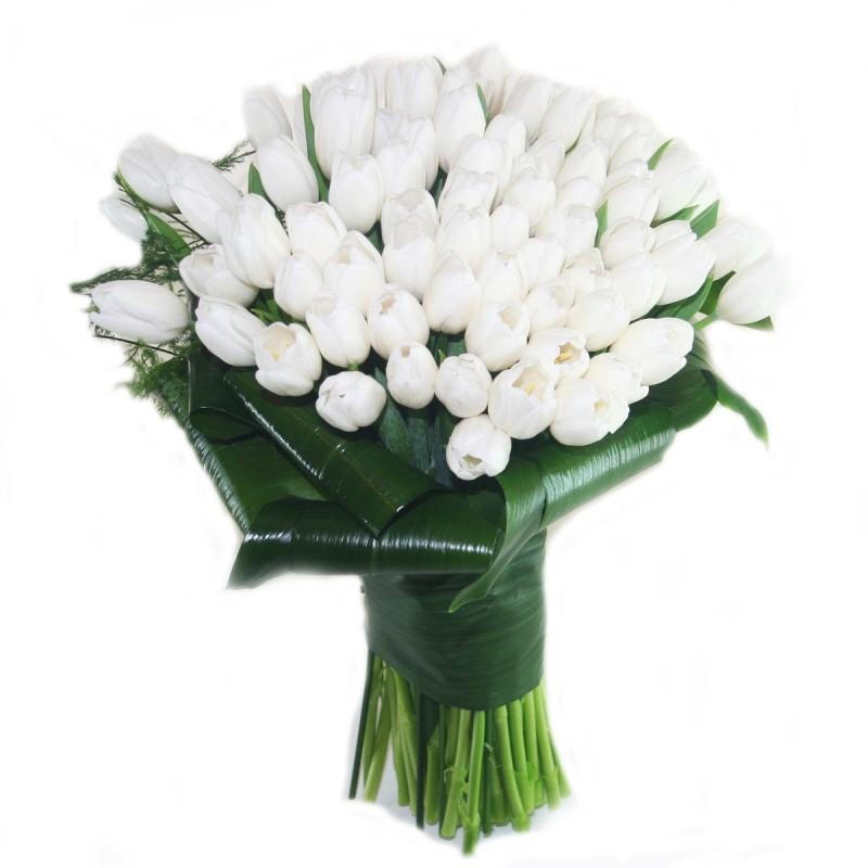 ЦВЕТЯ - Букет 101 бели лалета