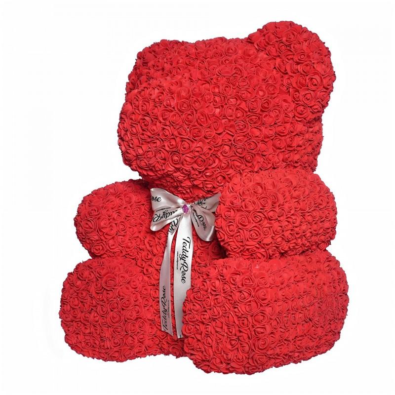 ВСИЧКИ БУКЕТИ РОЗИ - Teddy Rose XXL (червено) - мече от рози