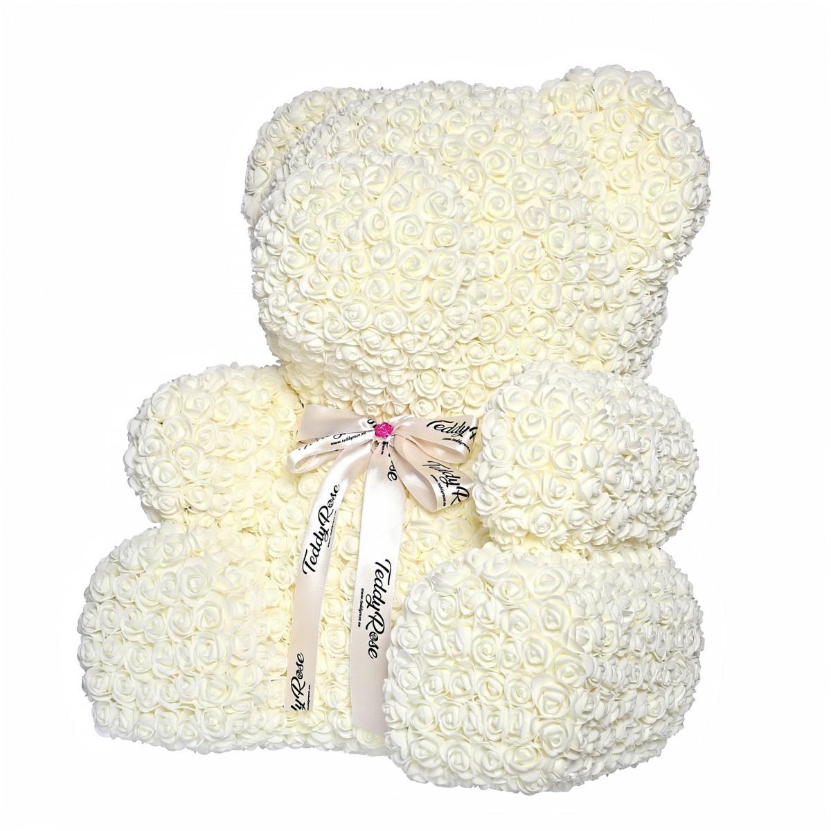 Teddy Rose XXL (Млечно бяло) - мече от рози