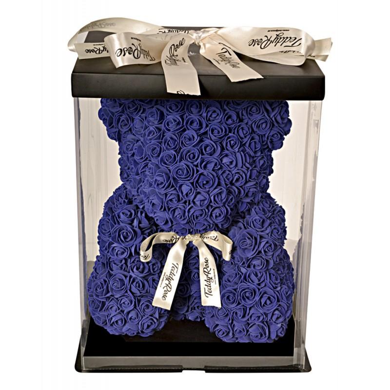 ВСИЧКИ БУКЕТИ РОЗИ - Teddy Rose Lila Blue Limited Edition (лилаво-синьо) - мече от рози