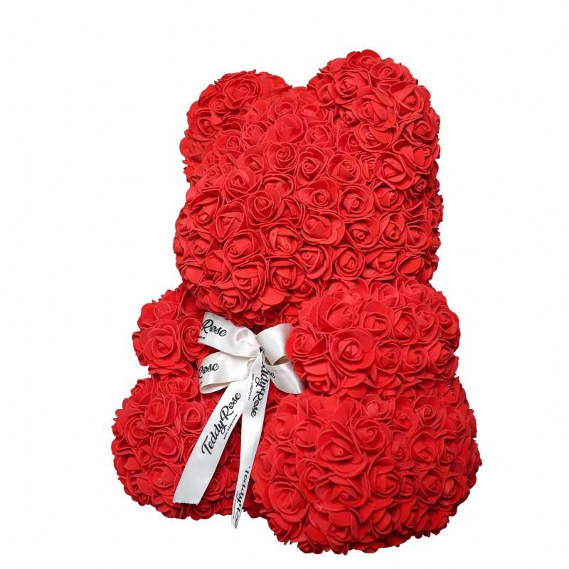 ВСИЧКИ БУКЕТИ РОЗИ - Teddy Rose Mid (Любов червено) - мече от рози