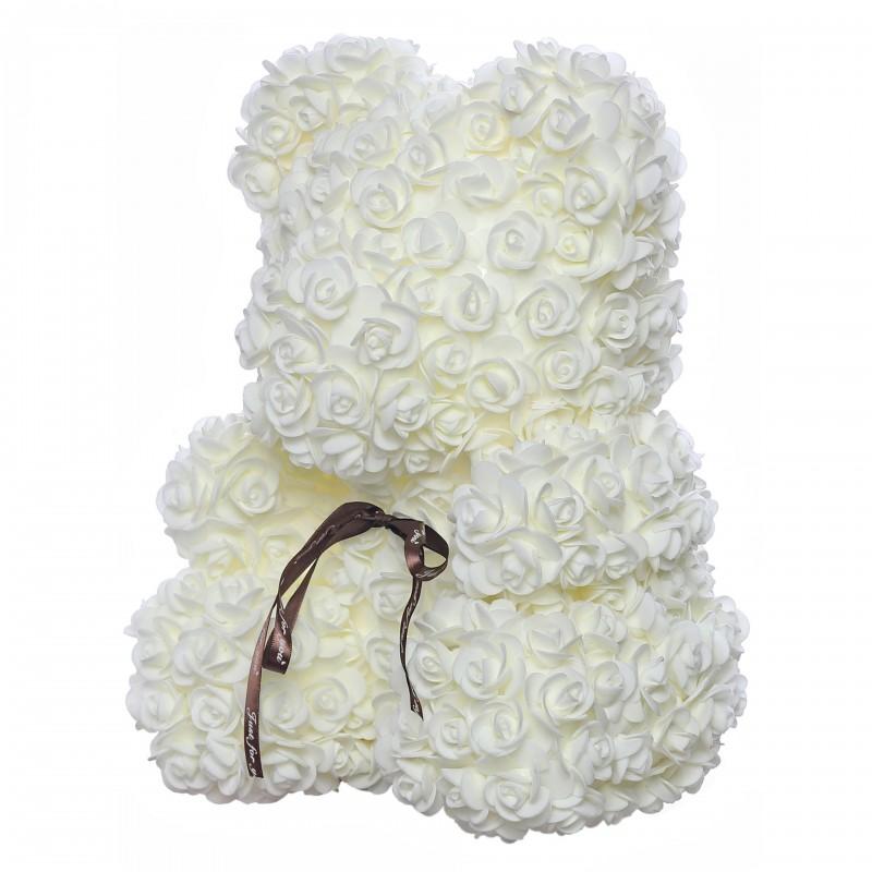 ВСИЧКИ БУКЕТИ РОЗИ - Teddy Rose Mid (Млечно бяло) - мече от рози
