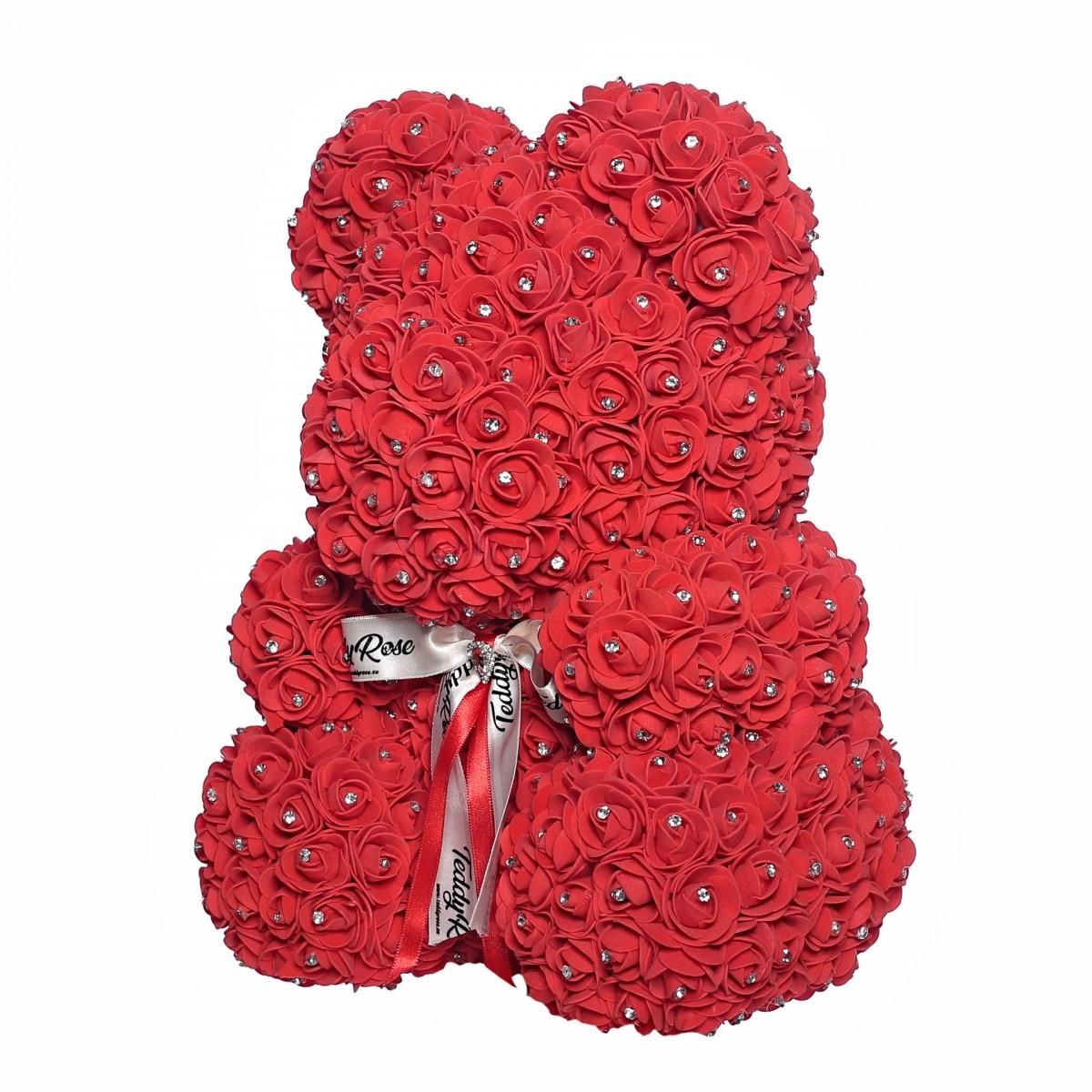 Teddy Rose Mid (Ruby) - мече от рози с кристали
