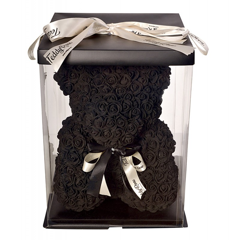 ВСИЧКИ БУКЕТИ РОЗИ - Teddy Rose Rich Black Limited Edition (Черни рози) - мече от рози