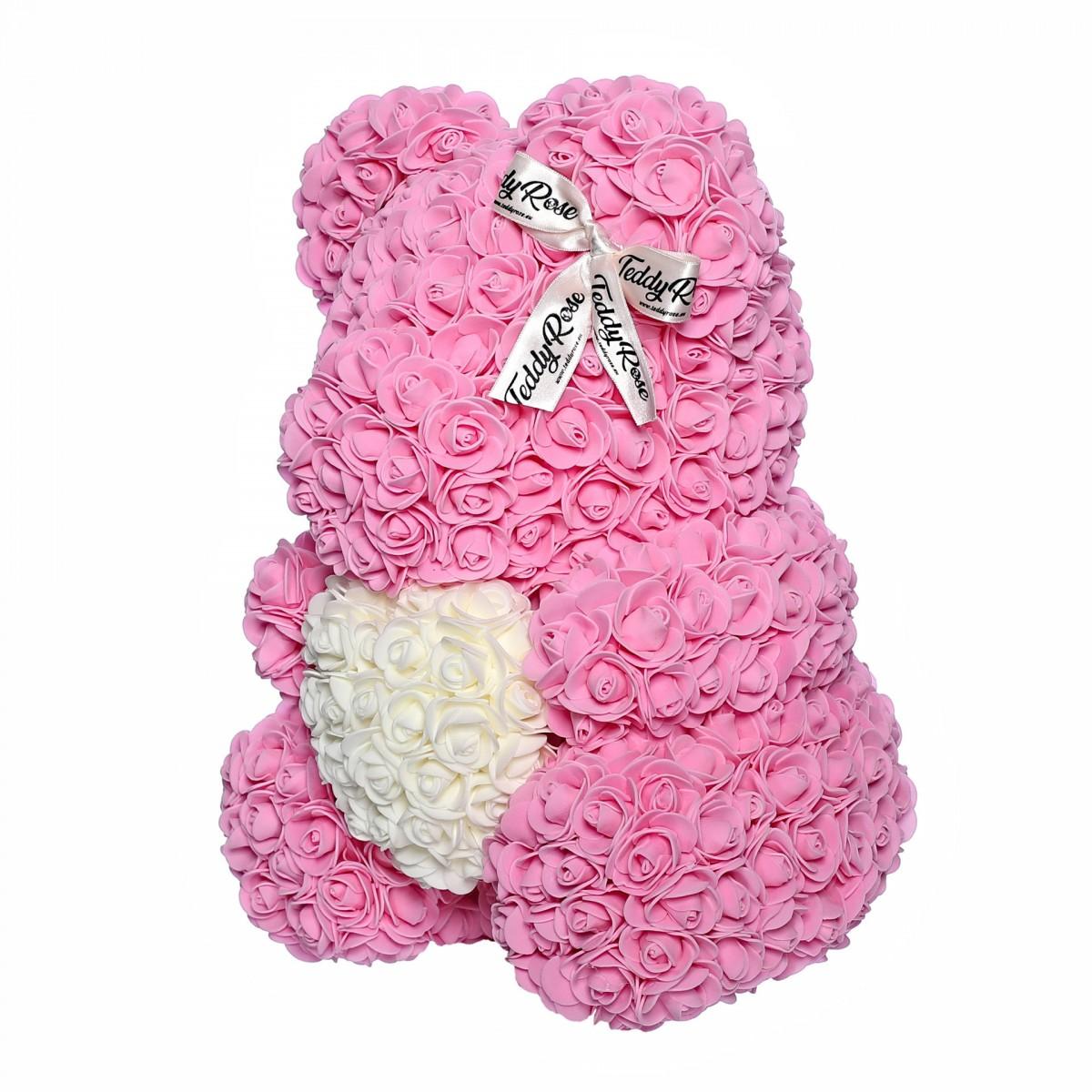 Teddy Rose със сърце (Бонбон розово) мече от рози
