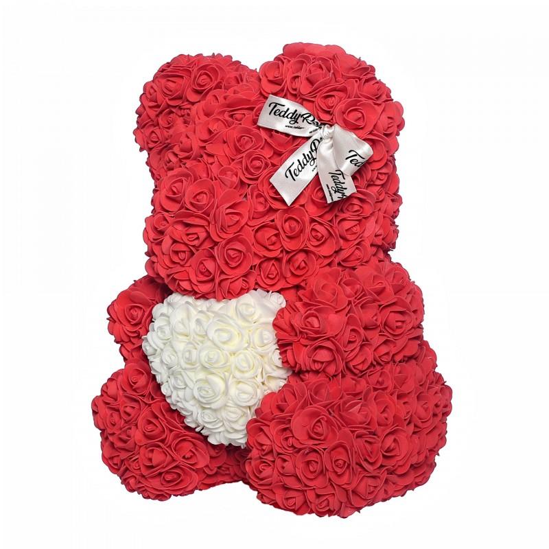 ВСИЧКИ БУКЕТИ РОЗИ - Teddy Rose със сърце (Love red) мече от рози