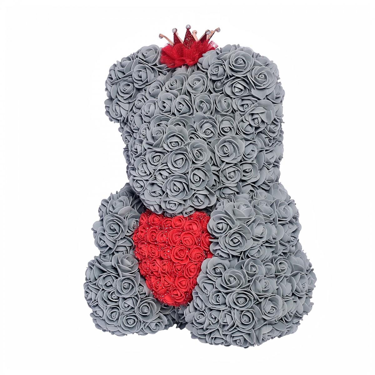 Teddy Rose Princess със сърце и корона (сребро) мече от рози