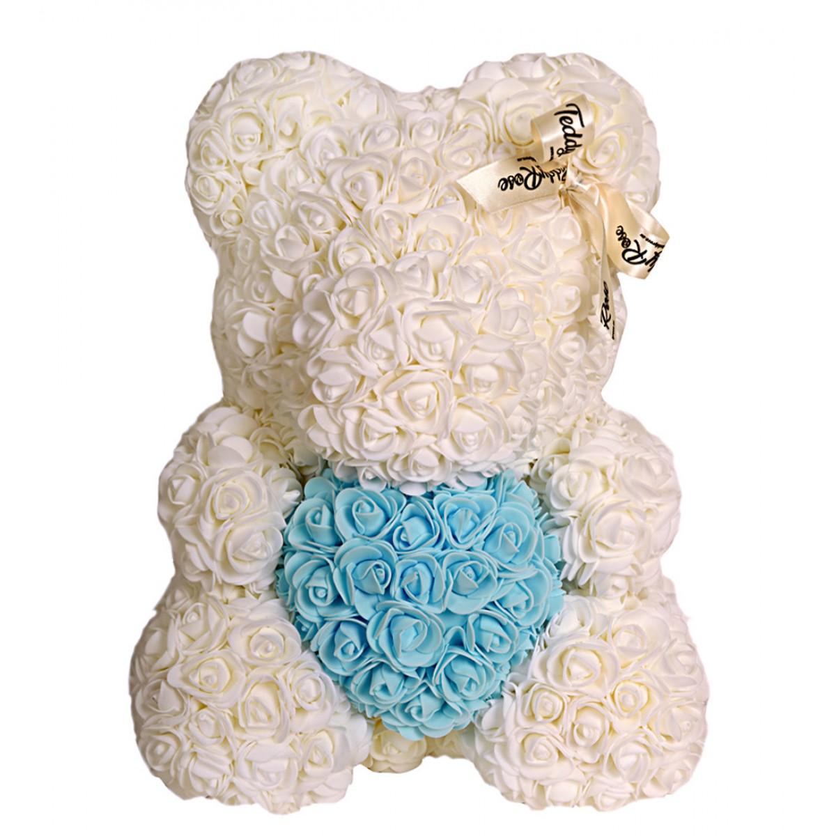 Теди Роуз с небесно сърце (Снежанка)  мече от рози