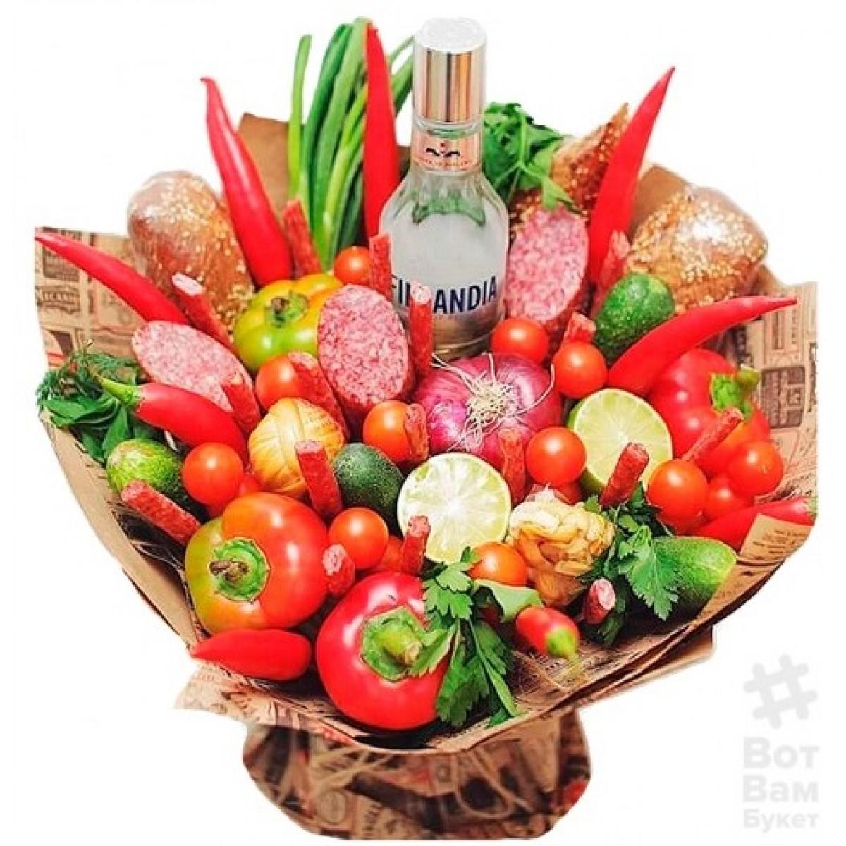 Зеленчуково-колбасен букет с водка Финландия