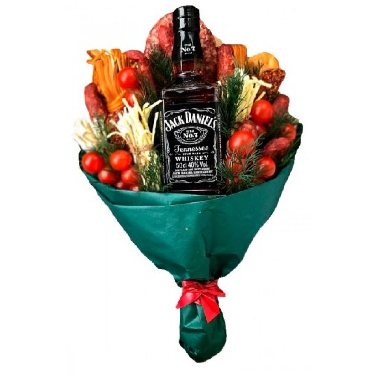 Мъжки букет с колбаси,зеленчуци и уиски Джак