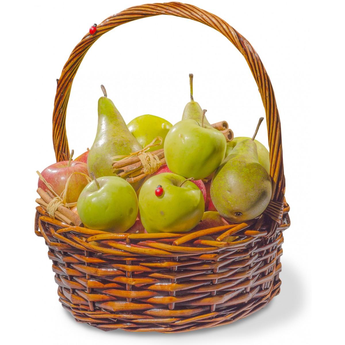 Кошница с плодове ябълки и круши