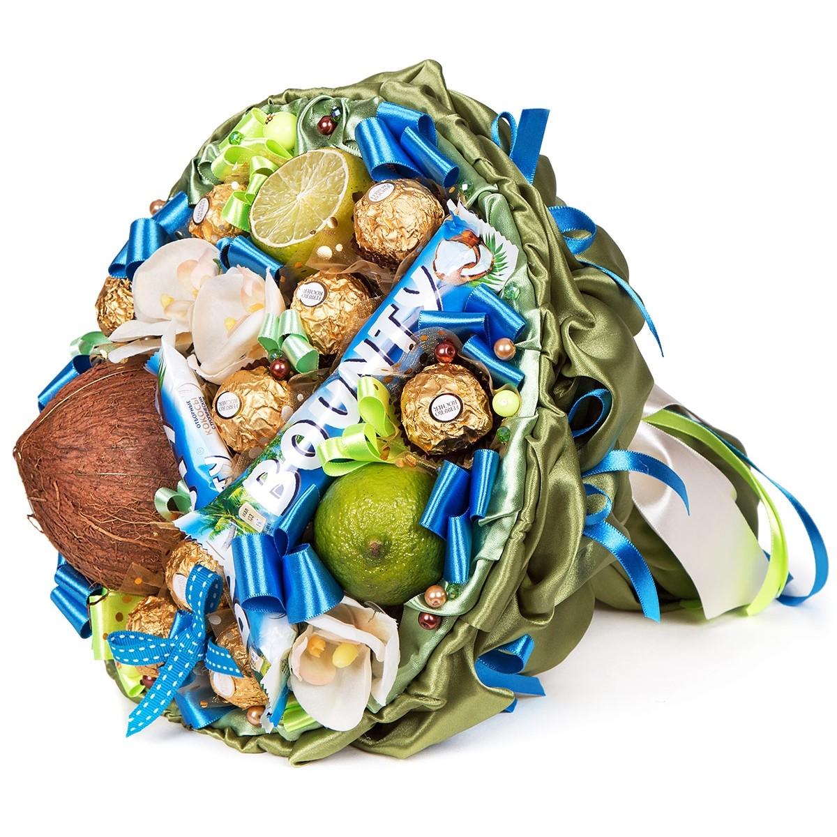 "Букет ""Баунти"" от шоколадови бонбони, барчета и кокос и лайм"