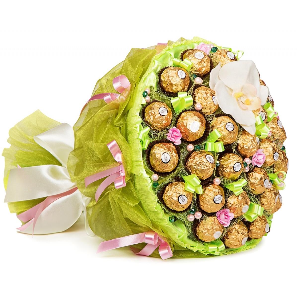 """Букет """"Орхидея XL"""" от шоколадови бонбони"""