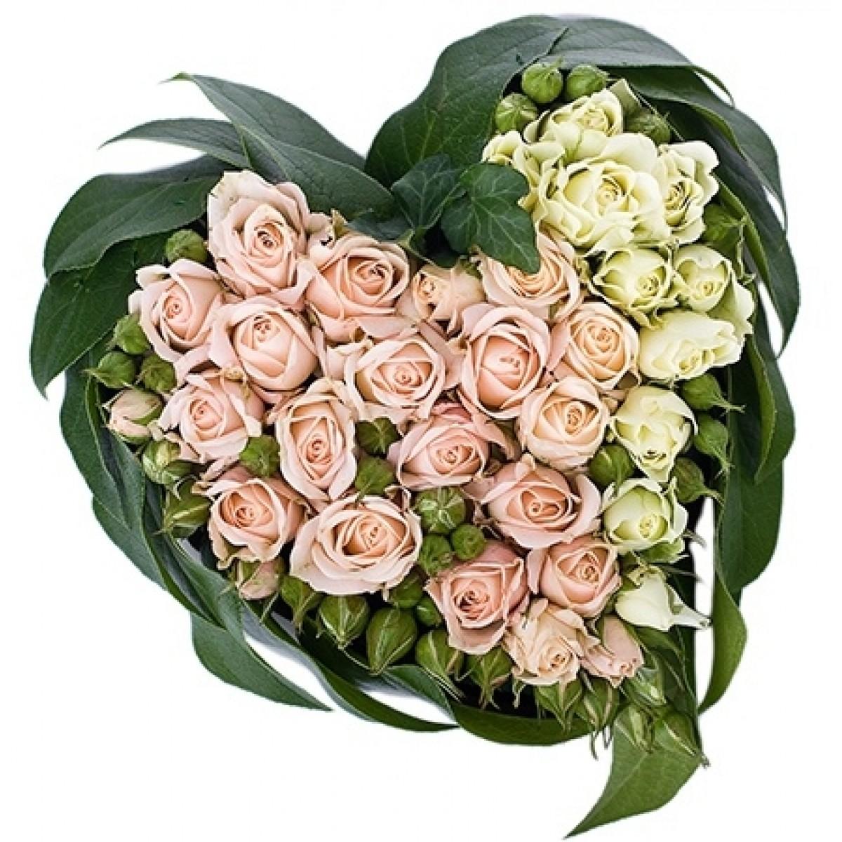 Сърце от 17 бели и розови спрей рози