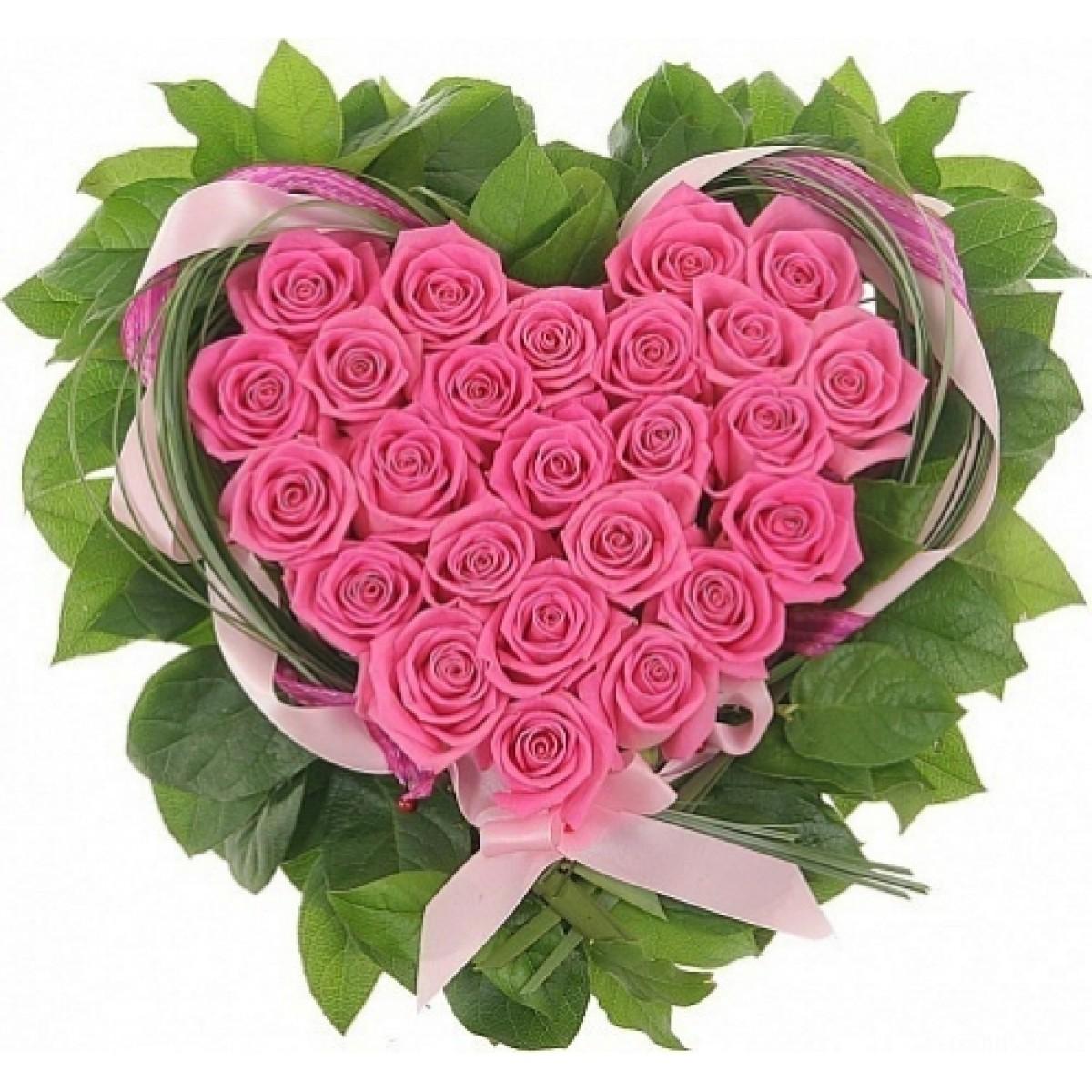 Сърце от 25 розови рози