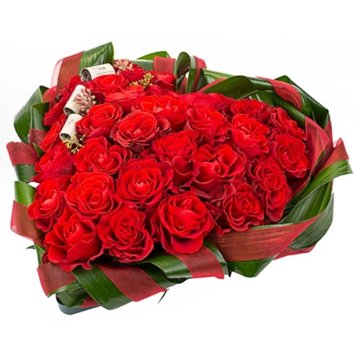 Сърце от 29 червени рози
