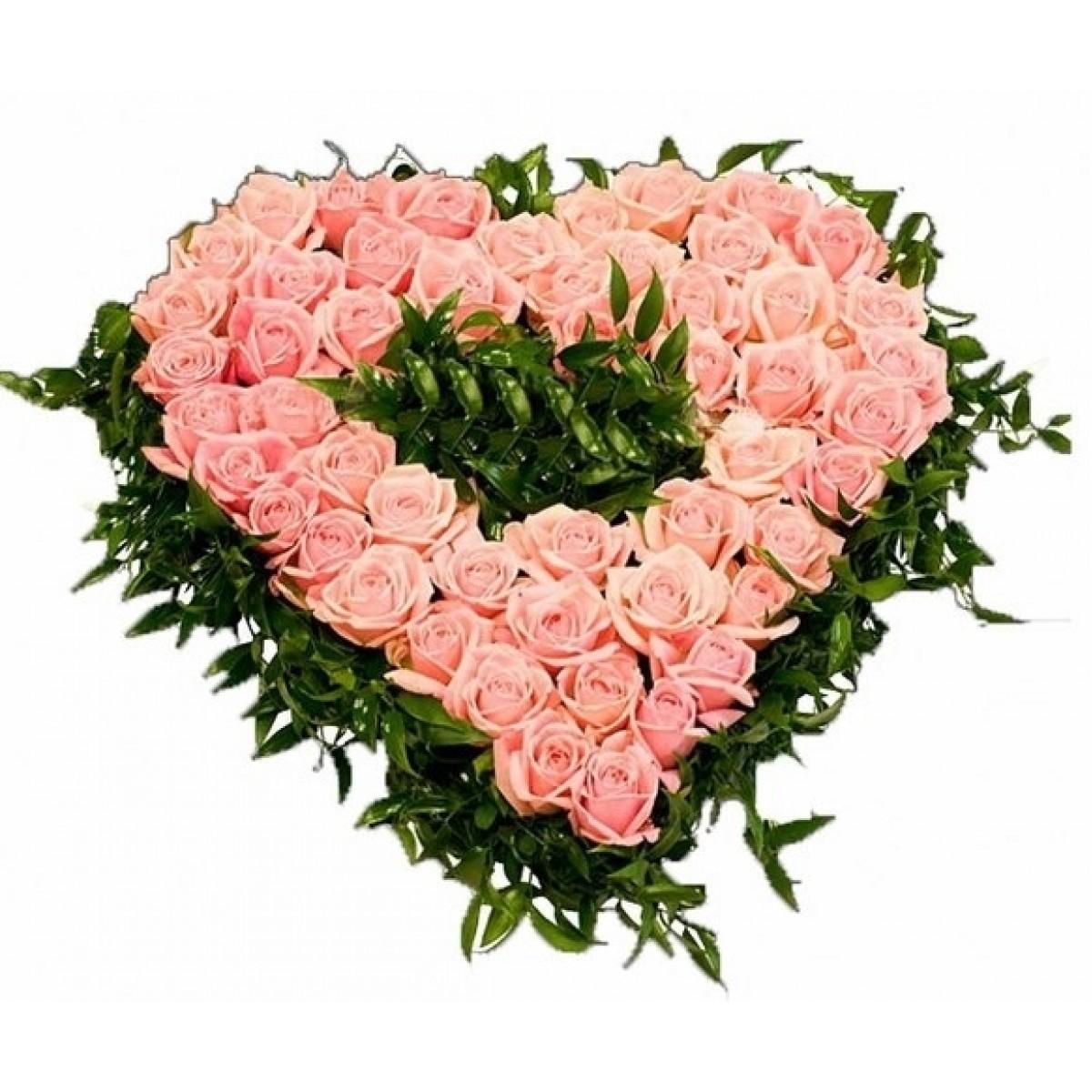 Сърце от 51 розови рози