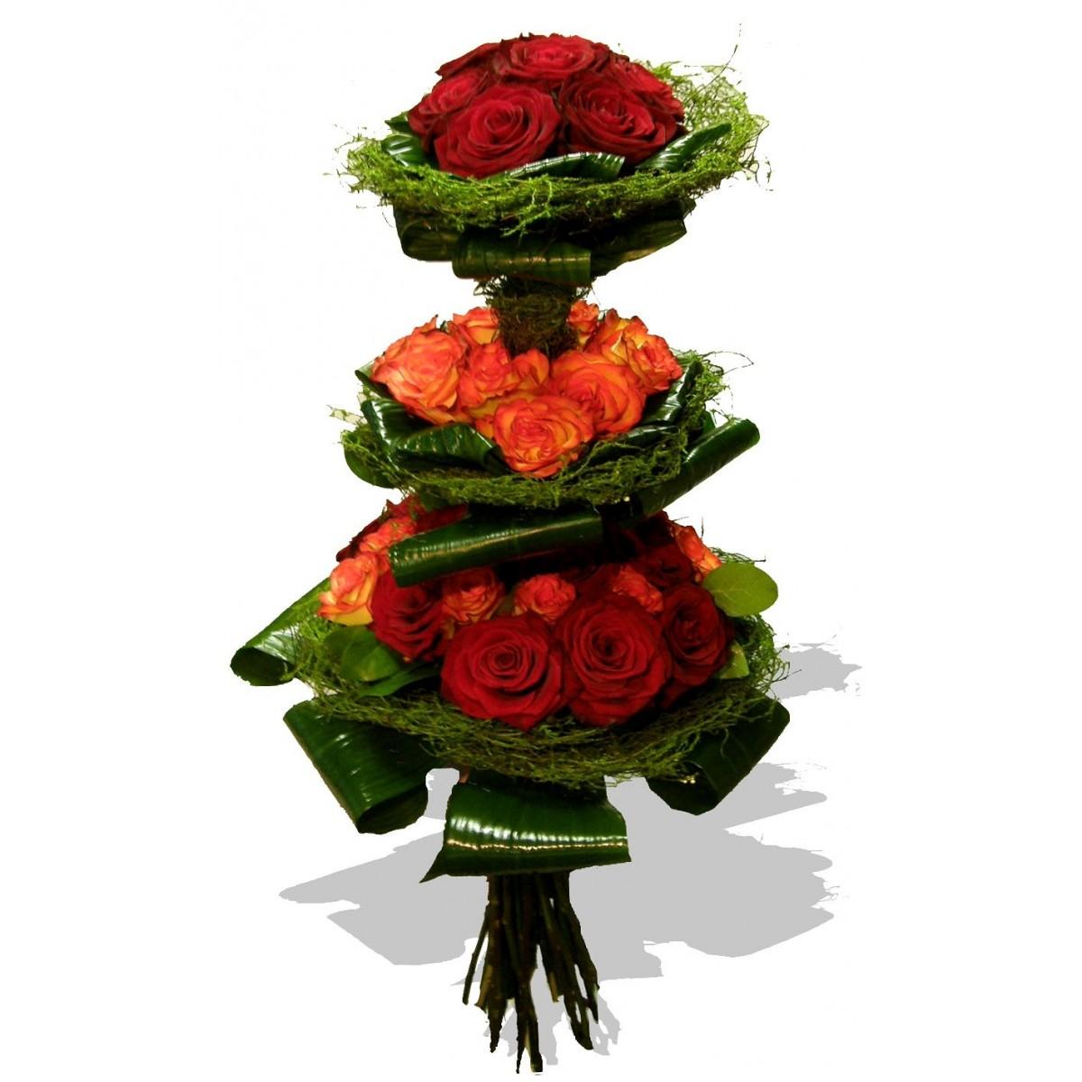 Фонтан от 51 червени и оранжеви рози в матрици