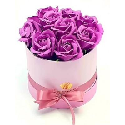 Бъди моя Валентинка 2 - 9 лилави рози от сапун в елегантна кутия