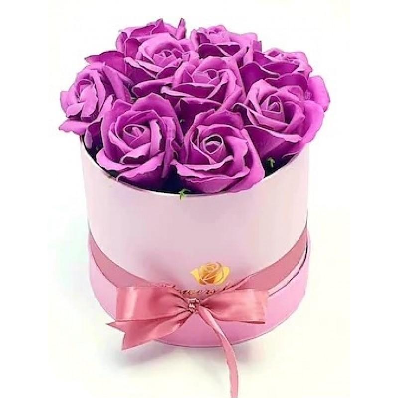 Рози в Кутия - Бъди моя Валентинка 2 - 9 лилави рози от сапун в елегантна кутия