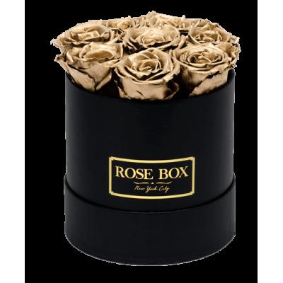 Валентин DELUXE  GOLD - 7 златни рози от сапун в елегантна кутия